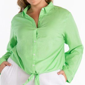 Fresh Produce Kiwi Green Santa Ana Tie Front Shirt